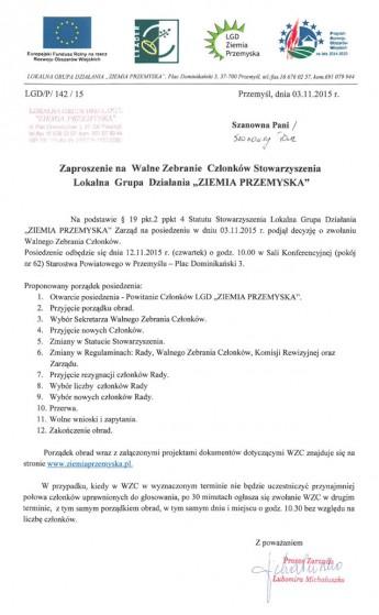 Zaproszenie WZC 12.11.2015